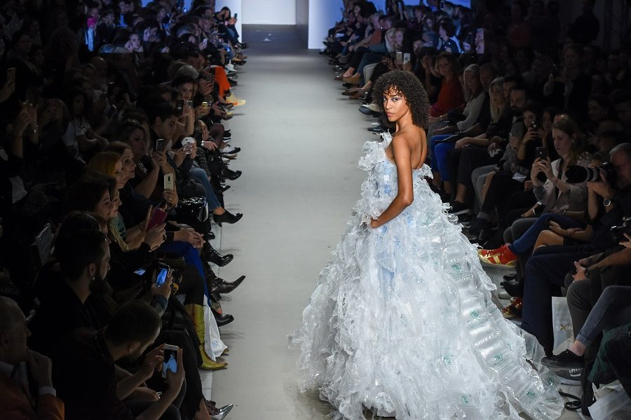Daphne Valente catwalk plastic bag dress