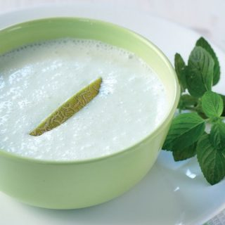 Chilled Cucumber Melon Soup with Greek Yoghurt